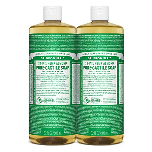 Dr. Bronner's - Pure-Castile Liquid Soap (Almond, 32 ounce, 2-Pack) - Made with Organic Oils, 18-in-1 Uses: Face, Body, Hair, Laundry, Pets and Dishes, Concentrated, Vegan, Non-GMO