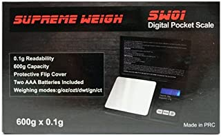 Supreme Weigh SW01 Digital Pocket Scale 600g x 0.01g with Protective Cover 0.1g Readability and Auto Calibration Batteries included