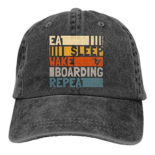 Essen Sie Schlaf Wakeboarden Wiederholen Sie Männer & Frauen Cotton Denim verstellbare Baseball Cap