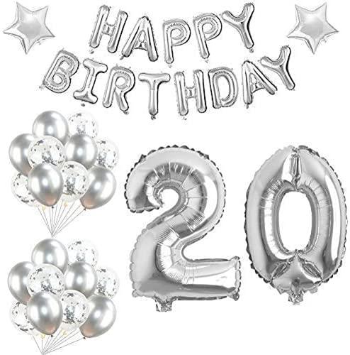 Palloncini Compleanno 20 anni Argento Palloncini Festa di Compleanno Palloncini con Coriandoli per Ragazza Decorazioni Compleanno Kit Palloncini…