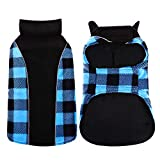 Kuoser Reversible Dog Cold Weather Coat, Reflective Waterproof Winter Pet Jacket, British Style Plaid Dog Coat Warm Cotton Lined Vest Windproof Outdoor Apparel for Small Medium and Large Dogs Blue M