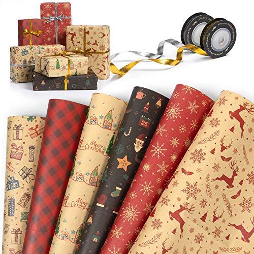 MOOKLIN ROAM 6 Hojas Papel de Regalo Christmas, Papel Kraft para Envolver Regalos con 2 Rollo de Cinta, Papel de Envoltura de Regalo para Regalos de Christmas (70 x 50cm, Plegada)