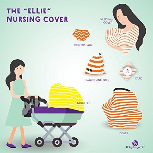 Baby Benjamin Car Seat and Nursing Cover with Bib and Drawstring Bag, Yellow