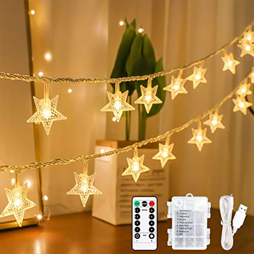 Led Star Fairy Lights, 15M 100 LED String Lights with Remote& Timer, USB or Battery Powered 8 Modes Decorative Lights for Christmas Indoor Outdoor Bedroom Party Garden Patio Decoration - Warm White