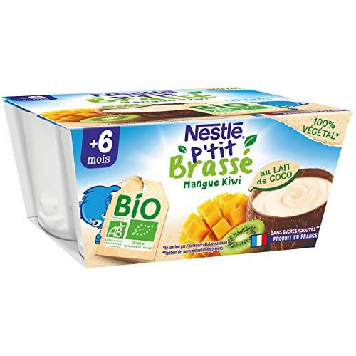 Nestlé Bébé P'tit Brassé Bio Végétal Lait de Coco Mangue Kiwi - 4x 90g - dès 6 mois