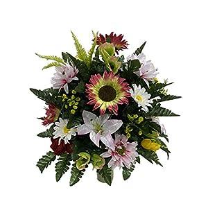 Spring Cemetery Flower Arrangement, Headstone Vase Insert, Grave, Cone Insert, Tombstone vase Arrangement, Cemetery Flowers CC4263