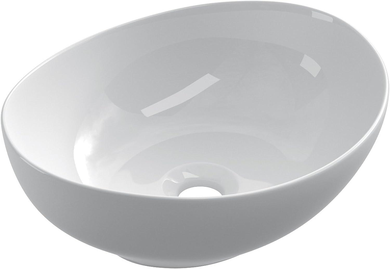 Starbath - BARCO ceramic countertop sink. Modern design basin. White bathroom sink, wash basin 41 x 33 x 15 cm