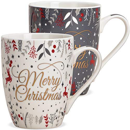 matches21 Tassen Kaffeetassen Weihnachten Merry Christmas Hirsch & Dekor grau weiß Porzellan 2er Set / 10 cm / 340 ml
