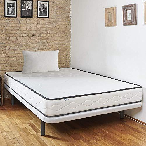 Pack colchón Manhattan + tapibase Partida con Patas + Almohada de Fibra (140x190)