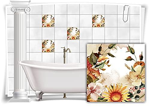 Medianlux M13m164-140920 - Adhesivo decorativo para azulejos de baño (8 unidades, 15 x 15 cm), diseño floral