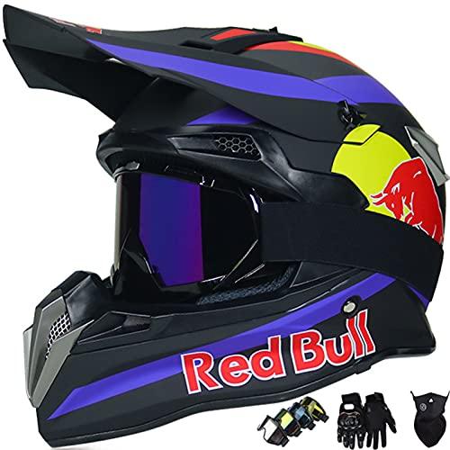KILCVEM Casco Moto, Casco de Motocross para Niños y Adultos Casco Integral Red Bull para BMX MTB Quad Enduro ATV Scooter con Gafas Guantes Máscaras,Black- M: 57~58cm