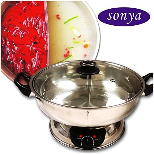 Sonya Shabu Shabu Hot Pot Electric Mongolian Hot Pot W/DIVIDER UL Approved for safety