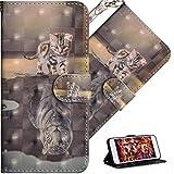 HMTECH Für Nokia 2.2 2019 Hülle Nokia 2.2 2019 Handyhülle 3D Süßes Cat Tiger Flip Hülle PU Leder Cover Magnet Schutzhülle Tasche Skin Ständer Handytasche für Nokia 2.2 2019,YX Cat Tiger