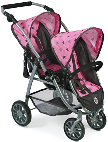 Bayer Chic 2000 689 83 Tandem-Buggy Vario, Zwillings-Puppenwagen, Sternchen grau, rosa