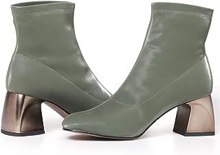 Journey West Women's Ankel Boots Silk Light Textile Square Toe Medium Chunky Heel Boots