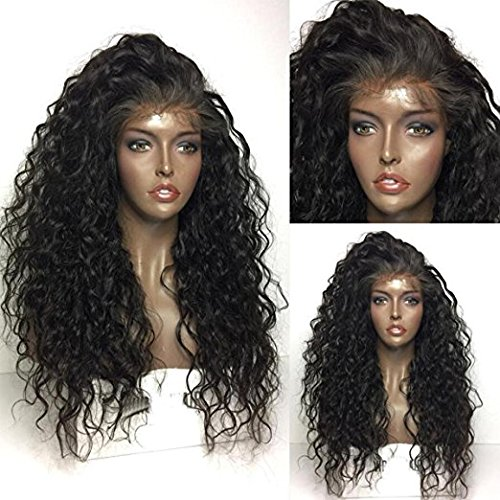 Maycaur 180 Density Curly Synthetic Lace Front Wig Black Color Loose Curly Hair wigs 26Inch