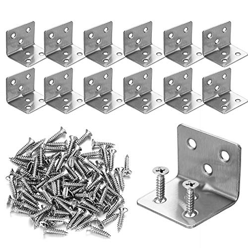 """12 PCS Stainless Steel L Corner Brackets Heavy Duty Corner Braces 1.2"""" x 1.2"""" x 1.5"""", 6 Hole 90 Degree Joint Right Angle L Shape Bracket for Wood Cabinets Furniture"""