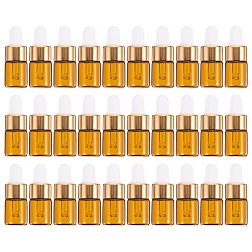 Beaupretty 30-pack 1 ml bärnsten glasflaskor med glas ögondropp mini tom eterisk olja droppflaska hållare