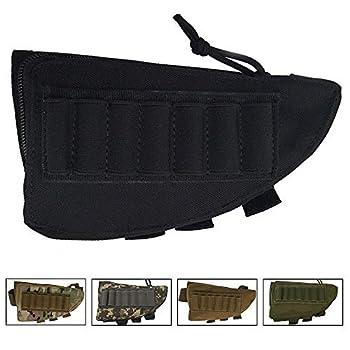 SHURUN Tactical Sharpshooter Rifle Stock Pack | Cheek Pad | Buttstock Ammo Holder | Zippered Utility Pouch Tactical Nylon Butt Shell Bracket Portable Shooting Tool Bag Holder  Black