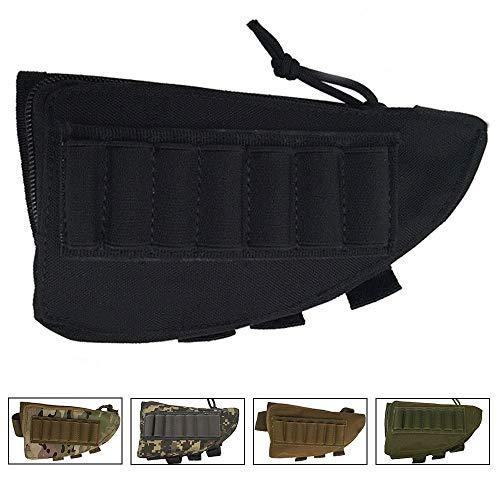 SHURUN Tactical Sharpshooter Rifle Stock Pack | Cheek Pad | Buttstock Ammo Holder | Zippered Utility Pouch Tactical Nylon Butt Shell Bracket Portable Shooting Tool Bag Holder (Black)