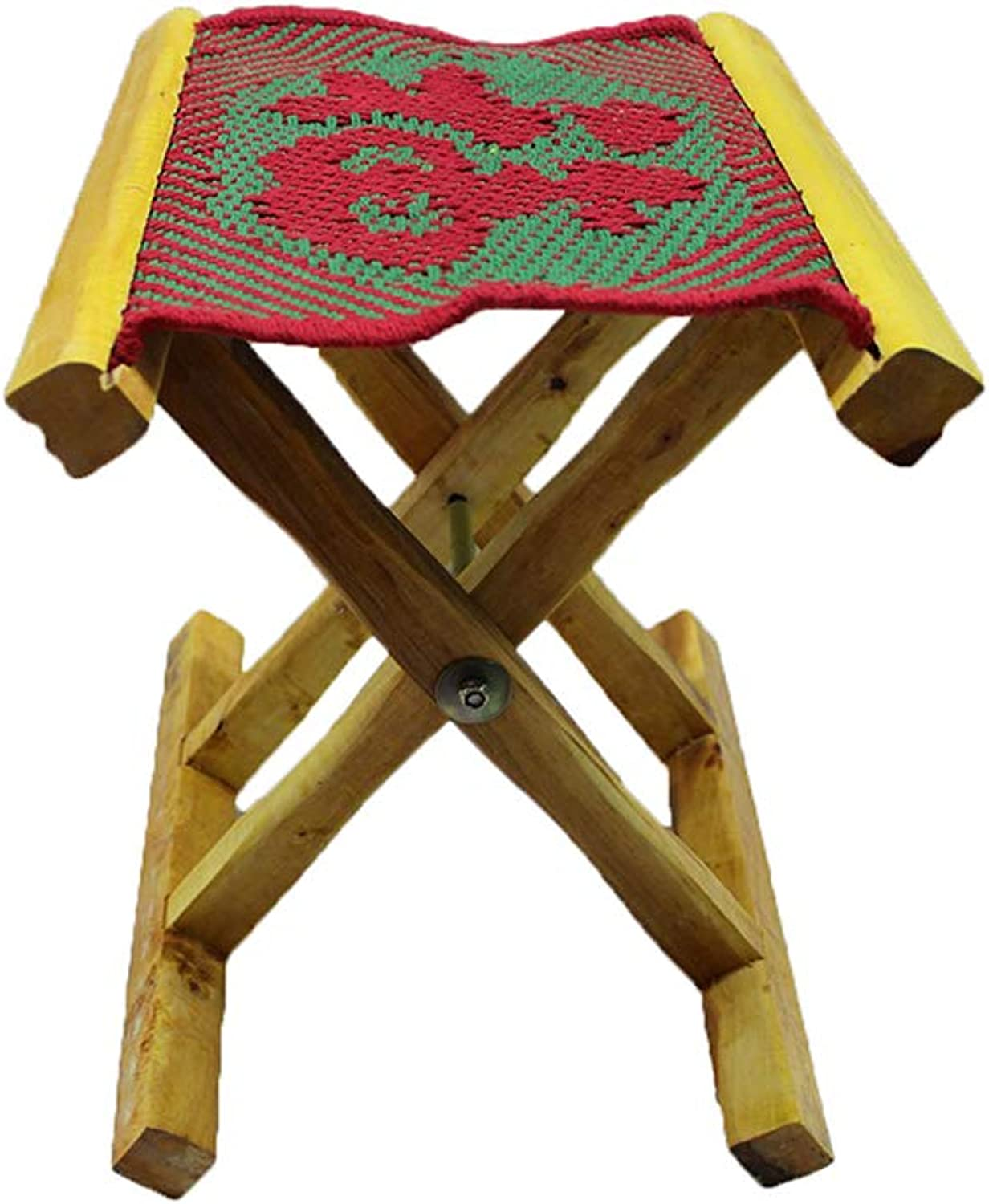 YQQ Portable Folding Stool Small Bench Solid Wood Mazar Fishing Stool Makeup Stool Fu Word Weave Sketch Stool