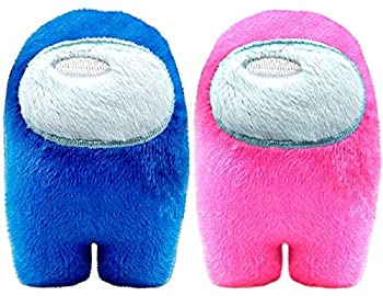 Among in Us Game Plush Toys | Soft Stuffed Animals Imposter Plush Squeak Plushie Figure 3.9inch  Blue Pink
