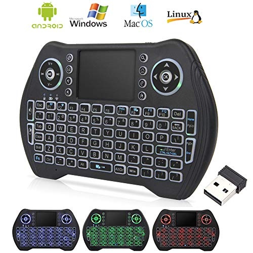 Mini Wireless Keyboard with Touchpad Mouse, 2.4GHz LED Backlit Multi-Media Handheld Android Box Remote Keyboard for Pc, Pad, Xbox 360, Ps3, Google Android Tv Box, Htpc, Iptv, Raspberry Pi