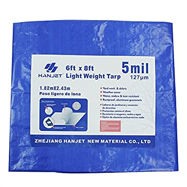 Lightweight Outdoor Camping Tarp Hanjet 6' x 8' 5-mil Blue Waterproof Boat Tarps Covers with Grommets