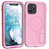 iPhone 12 Pro Waterproof Case 6.1 inch, Fansteck Built-in Magnet for Magsafe Charger & Portable Kickstand, IP68 Full Body Waterproof Shockproof Dustproof Snowproof Case for iPhone 12 Pro