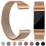 eDriveTech Bracelet Compatible pour Fitbit Charge 3 en Acier, Remplacement Bracelet de métal de Sport Bande Accessoires pour...