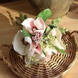 TRRT Fake Plants Artificial Magnolia Silk Flowers Bouquet, Home Decor Wedding DIY Decoration Fleur Artificielle Fake Flower Fake Flower (Color : Light Pink)