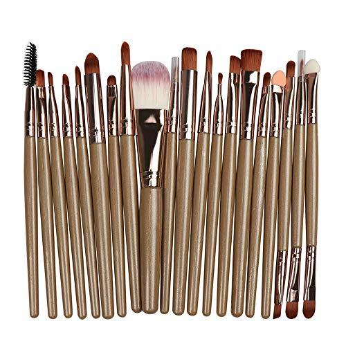 Maquillage Pinceau Professionnel Fard À Paupières Fond De Teint Pinceau À Lèvres, Café + Or Rose