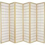Oriental Furniture 6 ft. Tall Window Pane Shoji Screen - Natural - 6 Panels