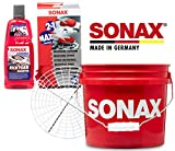 Detailmate - SONAX Auto Handwäsche Set: Sonax GritGuard Wascheimer, 13 Liter (3,5 Gallonen) + GritGuard Schmutz Einsatz + Sonax Rich Foam Aktivschaum Shampoo + Microfaser 2in1 Schwamm