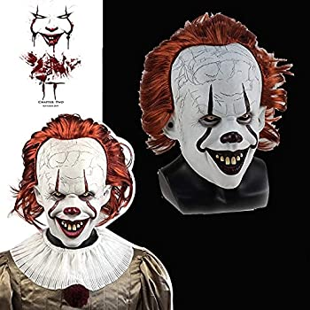 Horror Clown Cosplay Mask Scary IT Pennywise Clown Mask Creepy Clown Mask for Cosplay Prop Decoration Ahs Mask is Suitable for Halloween Costumes Masks or Role-playing Props  Ordinary