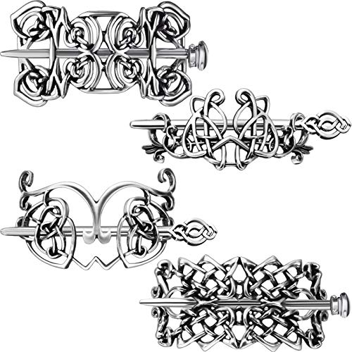4 Pieces Retro Silver Celtic Hair Clips Hairpins Viking Metal Hair Sticks Barrette Hair Celtic Knot Jewelry Hair Accessories for Women