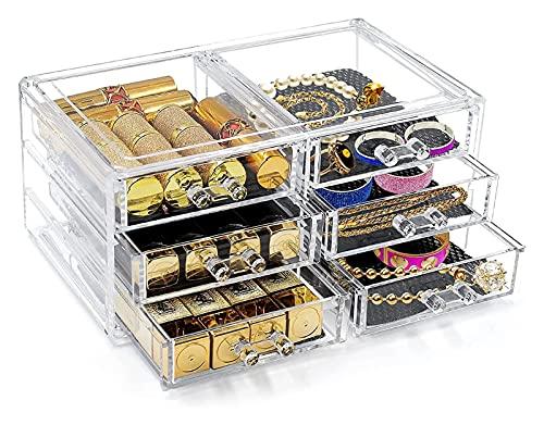 BBGSFDC Caja de almacenamiento Maquillaje Organizador 6 Cajones Removibles Mat de esponja Cosmética Joyas Cajas de almacenamiento for lápiz labial Anillos de esmalte de uñas Pulsera Collar Caja de alm
