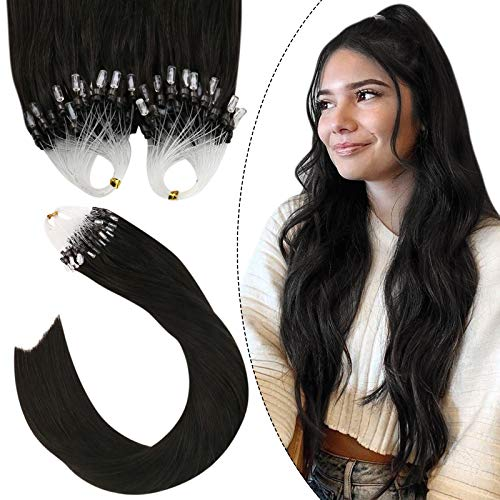 Ugeat Ring Extension a Anneaux Cheveux Naturel 24 Pouces Extensions Loops Remy Hair 50G 1g/s Easy Loop Extension Anneaux Cheveux Naturel Marron le Plu