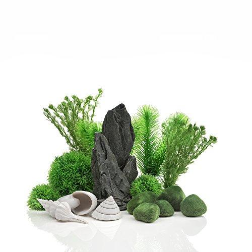 OASE biOrb 48445 Decor Set 30L Stone Garden - Aquariendekoration mit realistischen künstlichen Wasserpflanzen, Wurzeln und Steinen für schönes Aquariendesign - für Süßwasser und Meerwasser