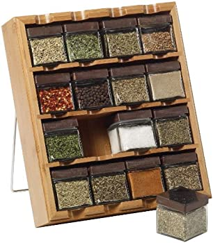 Kamenstein 16-Cube Bamboo Inspirations Spice Rack with Leaf Labels