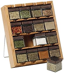powerful Kamenstein Bamboo Inspirations 16Cubes Spice Rack with 5 Years Free Spice Refills