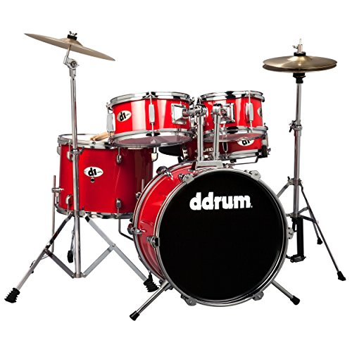 ddrum D1 Junior Complete Drum Set with Cymbals, Candy Red