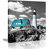 WDHCG 14x14 Inches Turquoise Canvas Lighthouse Wall Art Print