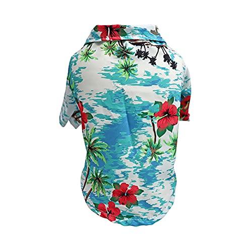 Katenpid Dog Floral Hawaiian Shirt Summer Beach T-Shirt Short Sleeve Pet Clothes Small Dog Cats Cool Summer Vest (Blue-Flower, XX-Large)