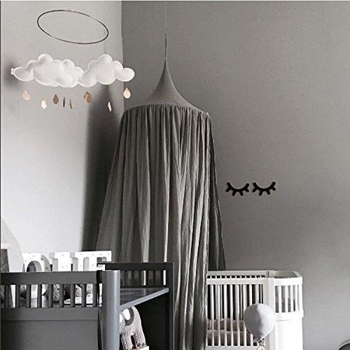 MONODY Dome Moustiquaire De Lit, De Bébé et Les Adulte Filles Princesse Jouer Tente Enfant Chambre Décoration, Hauteur 220cm (Gris)