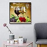 5D Diamond Painting DIY Arte Artesanía Sala De Estar Dormitorio Completo Mosaico De Diamantes Decoración De La Pared Resina Punto De Cruz Bordado De Diamantes Set Copa De Vino, 80X80Cm