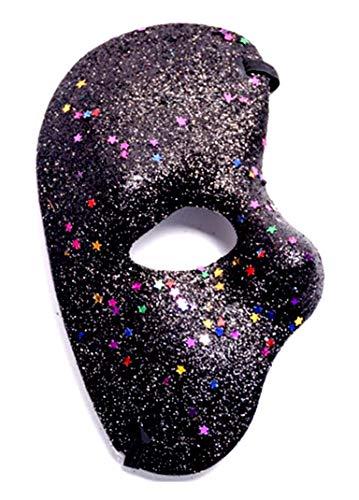 KIRALOVE Negro - máscara de Media Cara - Fantasma de la ópera - Coloreado con Brillo - Disfraz - Carnaval - Halloween - Cosplay Cosplay
