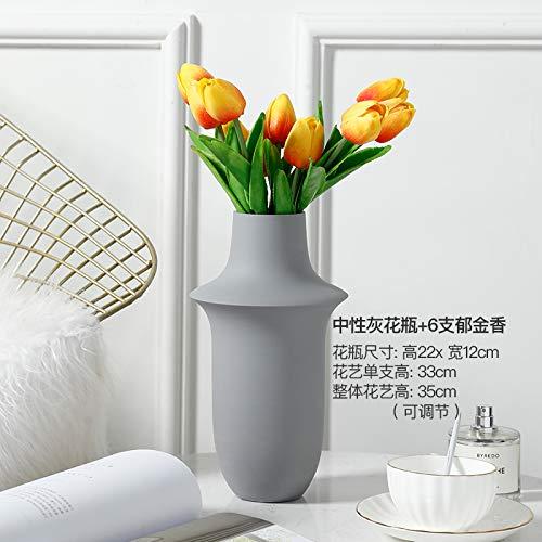 DIU Piso Minimalista Moderno salón arreglo Floral Creativo decoración del hogar florero de cerámica Seca decoración Floral Que florero de Hombro +6 Tulipanes [Precio Fijo]