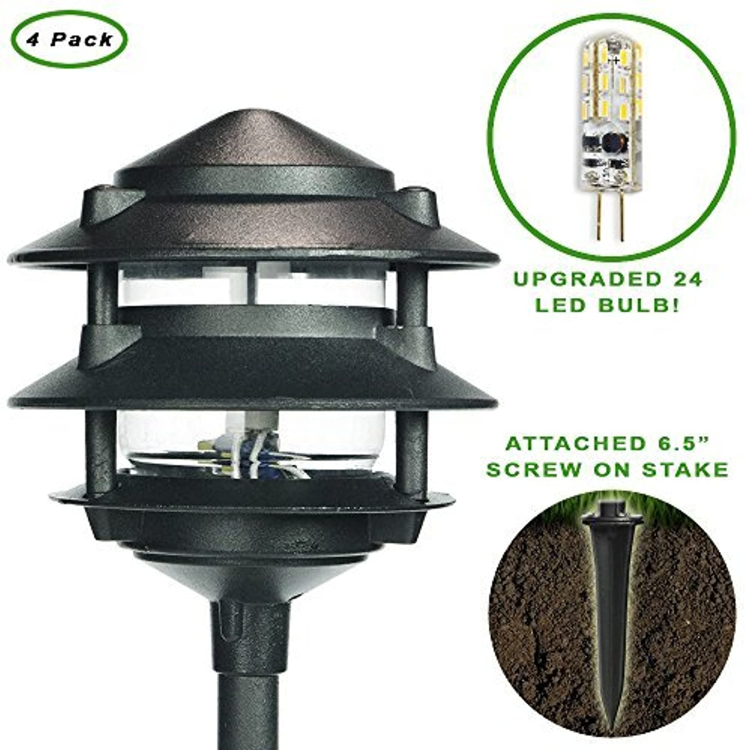 eTopLighting Oil Rubbed Black Outdoor Landscape Ground Spot Light Patio, Garden, Lawn, Path, Driveway APL1297, 4 Pack