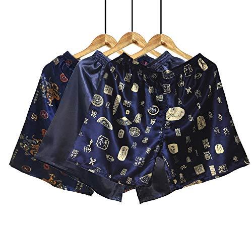 Wantschun Herren Satin Silk Unterwäsche Nachtwäsche Boxershorts Unterhosen Pyjama Bottom Shorts Pants Hose, 3-pack:design C+blau+design B, L / 50